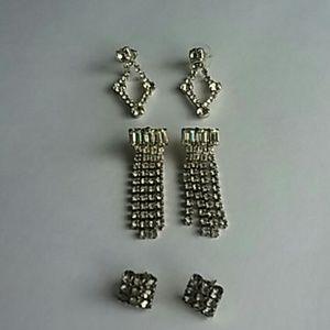 Jewelry - Rhinestone Pierced Earring Lot Bundle